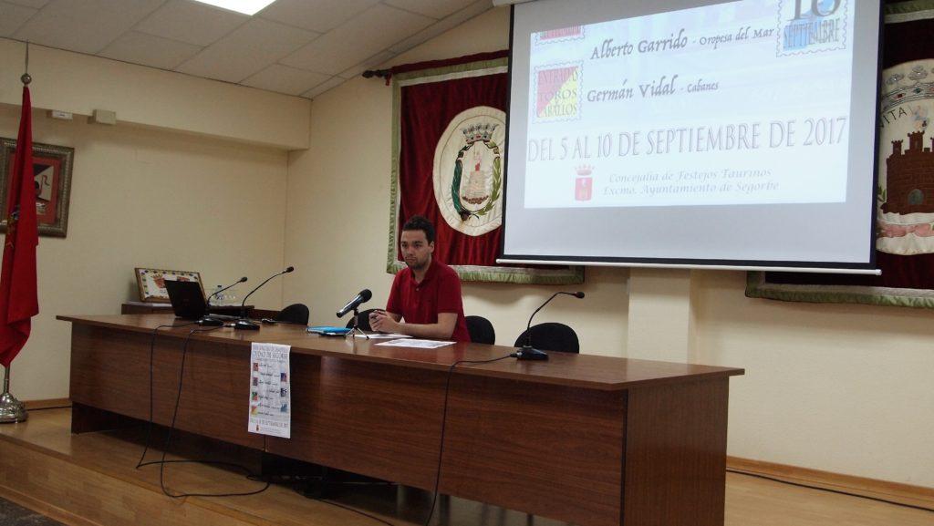 Enrique Máñez, Concejal de Festejos Taurinos de Segorbe, en rueda de prensa