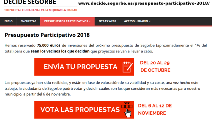 Captura web Presupuestos Participativos 2018
