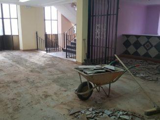 Obras en la primera planta del pabellón polideportivo de Segorbe (2)