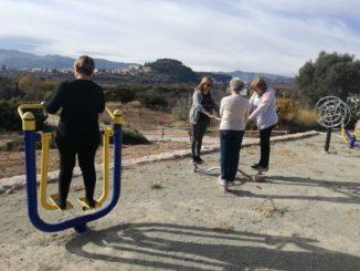 Varias personas ejercitándose durante una de las sesiones en el parque biosaludable de Cárrica
