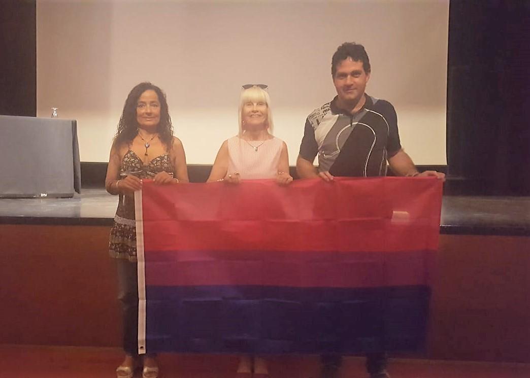 La concejala de la Mujer, junto a la técnica del área y el responsable laboral de Castelló LGTBI
