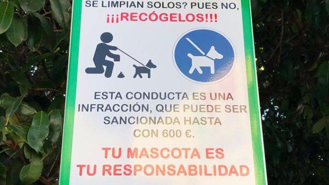 Señales informativas colocadas en Segorbe. Bienestar Animal.