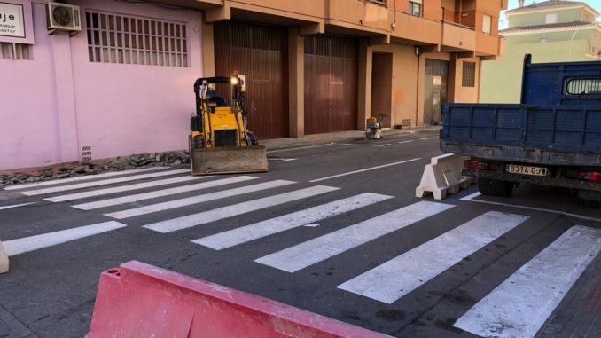 Obras en ejecución en la calle Soneja