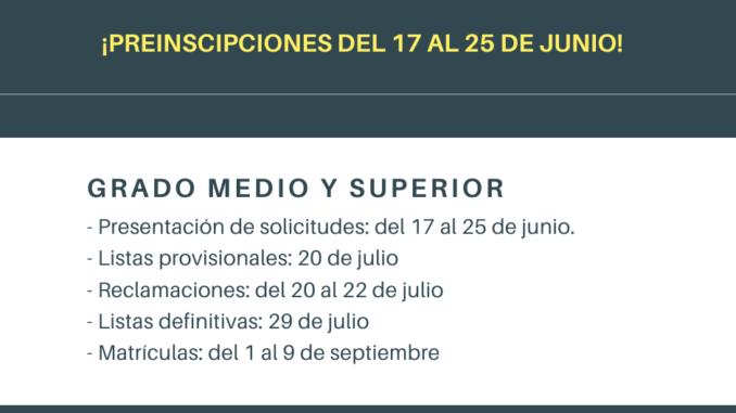 Calendario de admisión 2020/21